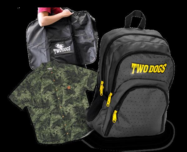 Produtos da amrca Two Dogs, mochila, camisa e bolsa de transporte bicicleta