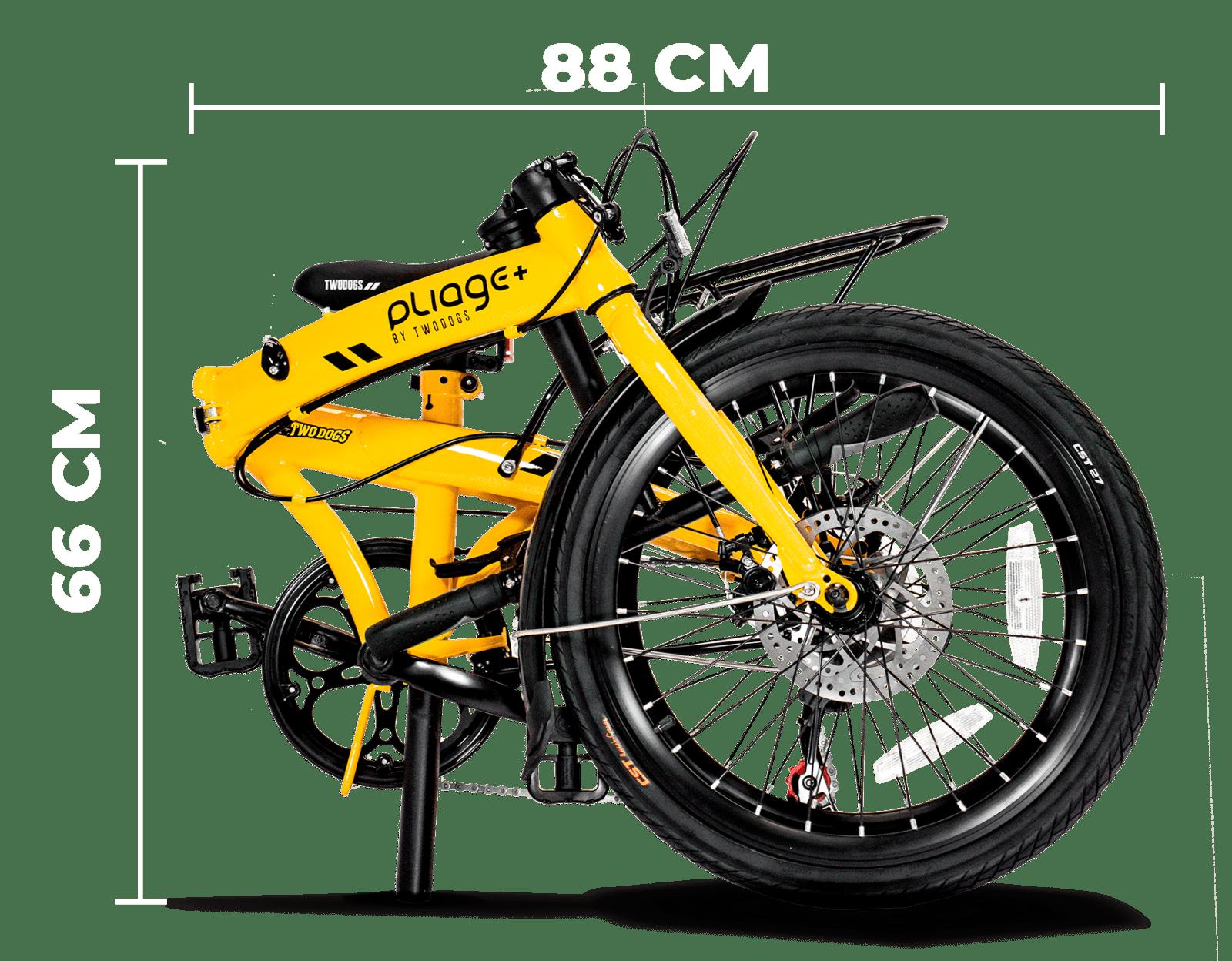 bicicleta dobravel plaige Plus Two Dogs amarela dobrada