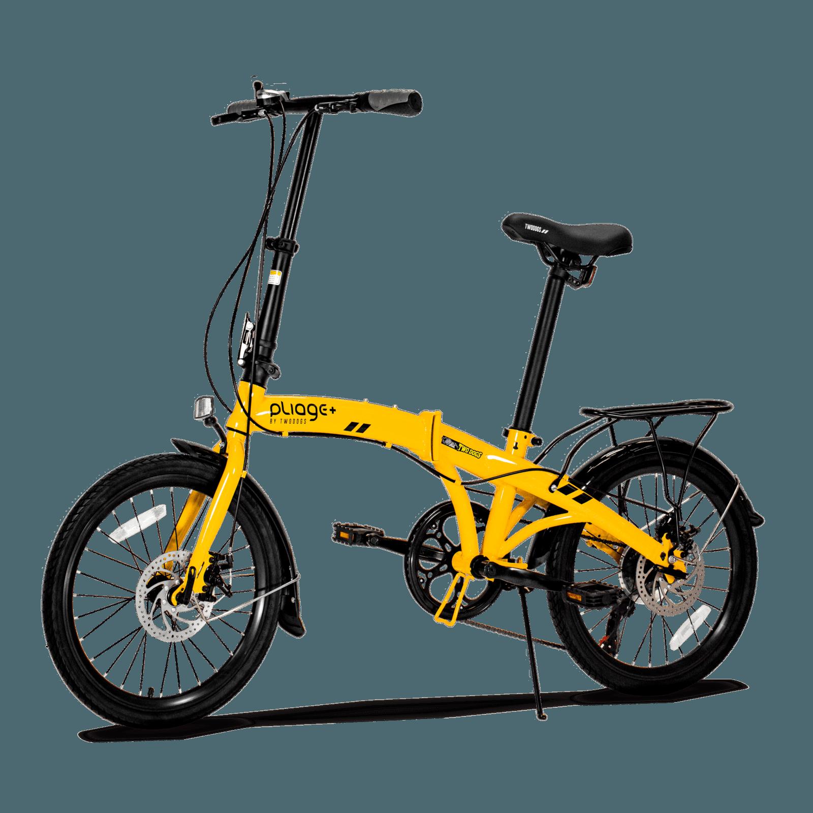 Bicicleta dobrável Pliage Plus Two Dogs cor amarela